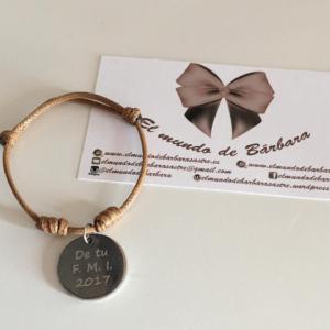 Pulsera Cuero Boceto® medalla personalizada