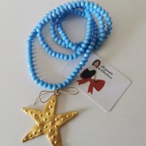 Collar azul con estrella dorada
