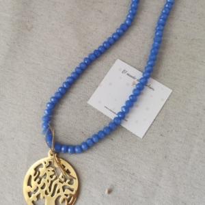 Collar Azul Árbol de la vida dorado